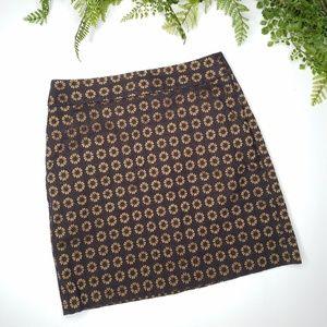 Loft brown mini skirt gold floral medallion print